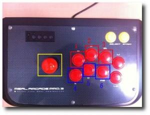 アーケードスティックのボタン配置